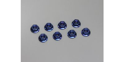 Nut(M4x4.5) Flanged (Steel/Blue/8pcs) 1-N4045F-B