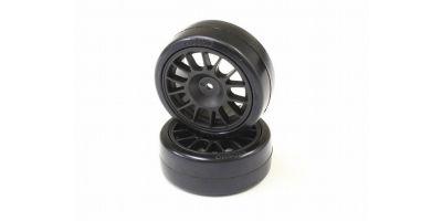 Drift Tire Front(14-Spoke/Black/24mm/2p) FAT305BK