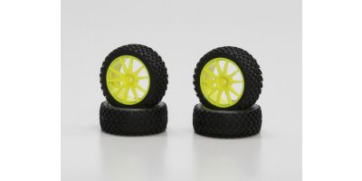 X-Pattern Tire With Wheel(Yellow/Mini In IHTH03Y