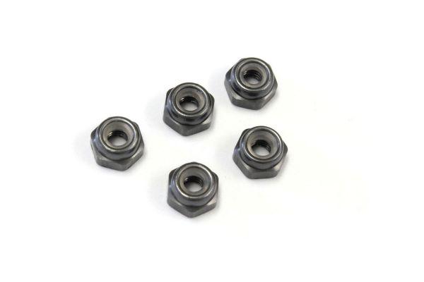 ナット(M2.6x3.0) ナイロン (アルミ/ガンメタ/5入) 1-N2630NA-GM