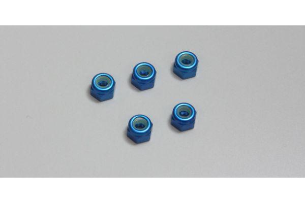 ナット(M3x4.3) ナイロン (アルミ/ブルー/5入)  1-N3043NA-B