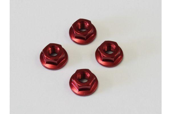 ナット(M4x4.5)フランジ(アルミ/レッド/4入) 1-N4045FA-R