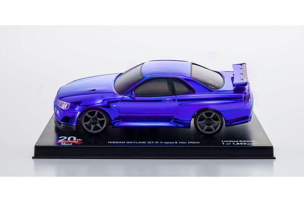 オートスケールコレクション ミニッツAWD MA-020用 日産 スカイライン GT-R V・Spec Ⅱ Nur (R34) クロームブルー ミニッツ 20th Anniversaryスペシャルエディション  MZP427CBL