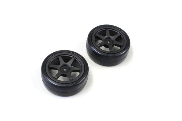 Drift Tire(6-Spoke/Black/24mm/2pcs) FAT307BK
