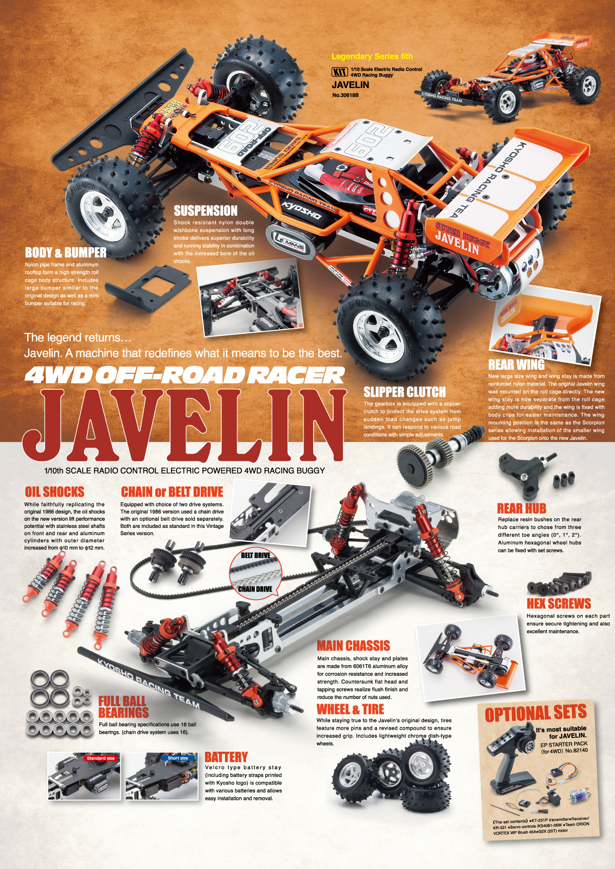 Javelin 1 10 Ep 4wd Buggy Kit 30618 Kyosho Rc Glowplug Driver For Radio Control Nylon Pipe Frame And Aluminum Rooftop Form A High Strength Roll Cage Body Structure Includes Large Bumper Similar To The Original Design As Well Mini